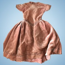 Antique silk velvet dress for Bebe.
