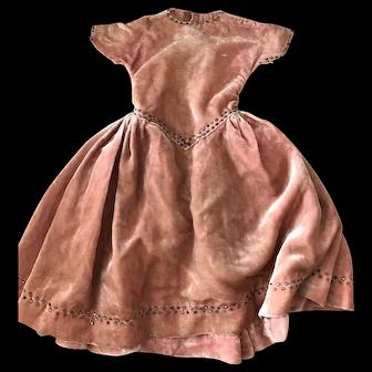 Antique silk velvet dress for Bebe.