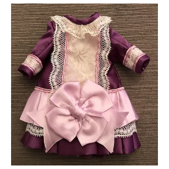 Purple and lavender pink dress for small doll