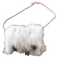White rabbit fur muff for small doll