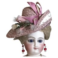 "Gorgeous dusty pink straw hat for 12"" French poupee doll"