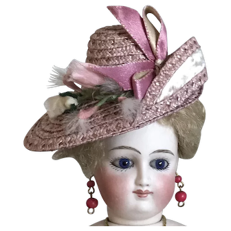 """Gorgeous dusty pink straw hat for 12"""" French poupee doll"""
