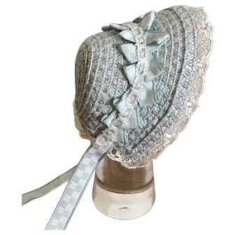 Ice blue straw bonnet for French poupee or small Bebe