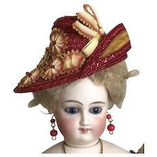 Cherry red and yellow asymmetrical hat for French poupee