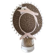 "Small milk chocolate straw bonnet for 4"" head"