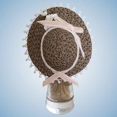 "Small milk chocolate straw bonnet for 4"" head"