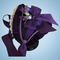 Purple Fanchon bonnet for French poupee