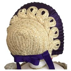 "Natural straw and purple silk bonnet for 6"" head"