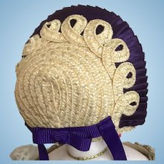 """Natural straw and purple silk bonnet for 6"""" head"""