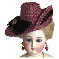 Dark raspberry straw asymmetrical hat for poupee