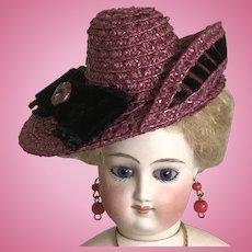Dark raspberry straw asymmetrical hat for poupee