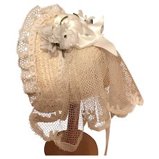Early Victorian style bridal bonnet in vanilla straw