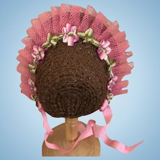 Chocolate and strawberry straw bonnet