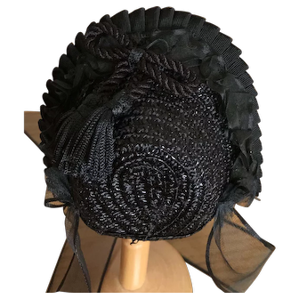 "Stunning black straw bonnet for 11""-13"" poupee or 6""-7"" head"