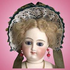 """Dark teal straw bonnet 11""""-13"""" poupee 6""""-7"""" head"""