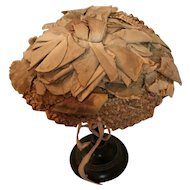 Antique straw dolls hat for Bebe or very large poupee