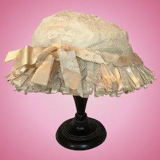 Original antique lace doll  bonnet