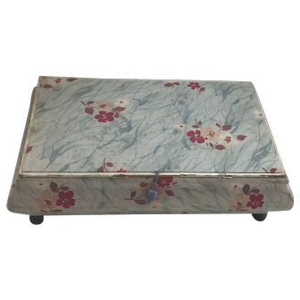 1920's Fabric covered wooden box