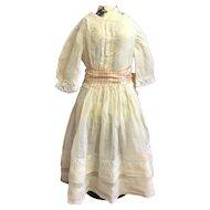 Antique original cream lawn dress