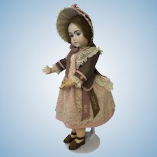 Beautiful milk chocolate and dusty pink costume and bonnet for Jumeau