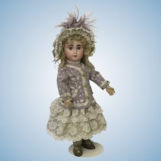 Stunning lilac and soft green costume and bonnet for Jumeau