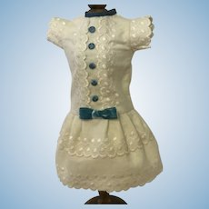 Pretty dress of antique embroidered flannel