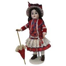 Stunning red silk tartan French costume, straw bonnet and matching parasol