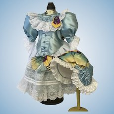 Exquisite handmade couture dress and bonnet in all antique fabrics