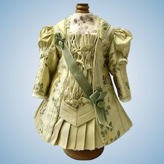 Pale yellow gold silk brocade and taffeta  French couture dress