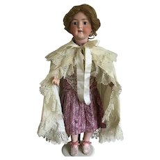 Antique cream wool cape for large doll or baby doll