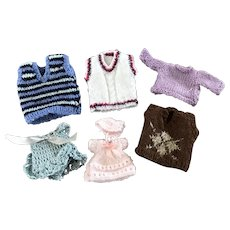 Six hand knitted miniature sweaters 1:12 scale