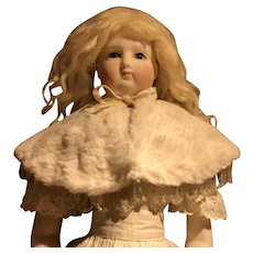 Antique faux fur and beaded cape for French poupee