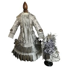 Beautiful couture Bru costume dress and bonnet in steel grey