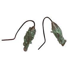 Antique pale green glass doll earrings #14