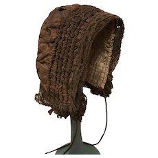 Original antique bronze silk bonnet