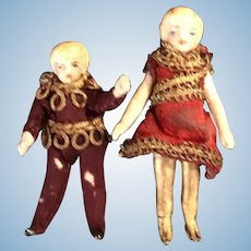 Pair of tiny French all bisque theatre doll's by Charles Keller, Paris. C1877