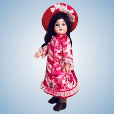Stunning cerise and magenta silk dress and straw hat