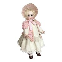 """Sweet pink and cream costume and straw bonnet 14"""" doll"""