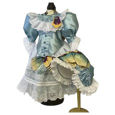 Gorgeous blue silk dress and bonnet for large French Bebe