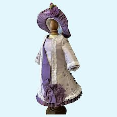 "Pale lilac / plum silk brocade 16"" doll"