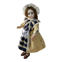 """French style coat dress golden yellow/blue silk dress and bonnet 26"""" doll"""