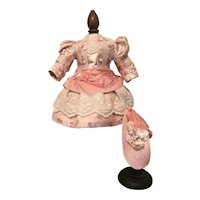 "Pretty pink dress and bonnet 17"" doll"