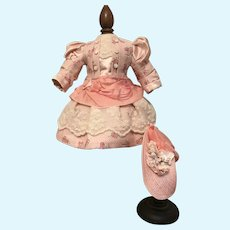 "Pretty pink dress and bonnet 17"" doll"