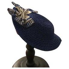 """Handmade Huret Rohmer style hat in blue straw - Martha 8-9"""" head"""