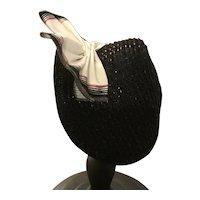 "Handmade French style straw bonnet in black - Mimi 8"""