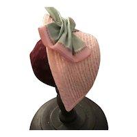 "Handmade straw bonnet in pink - Flora 6-7"""
