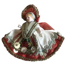 """Wonderful tiny all bisque in Hungarian costume 1 3/4"""""""