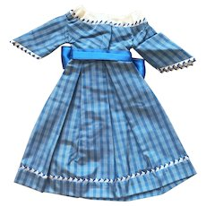 SALE : blue check silk dress for early poupee