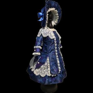 Beautiful sapphire blue watered silk dress and straw bonnet