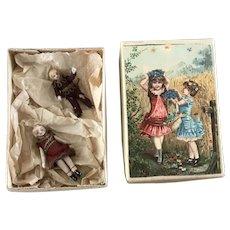 Pair of tiny Lilliputian dolls - Charles Keller 1870